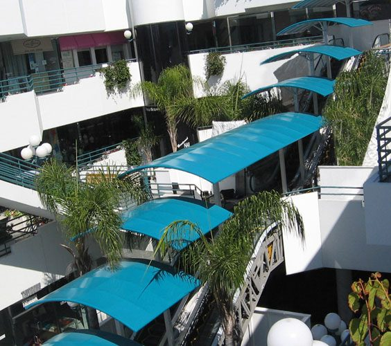 Walkway coverings architectural fabric shade structures for Shade cloth san diego