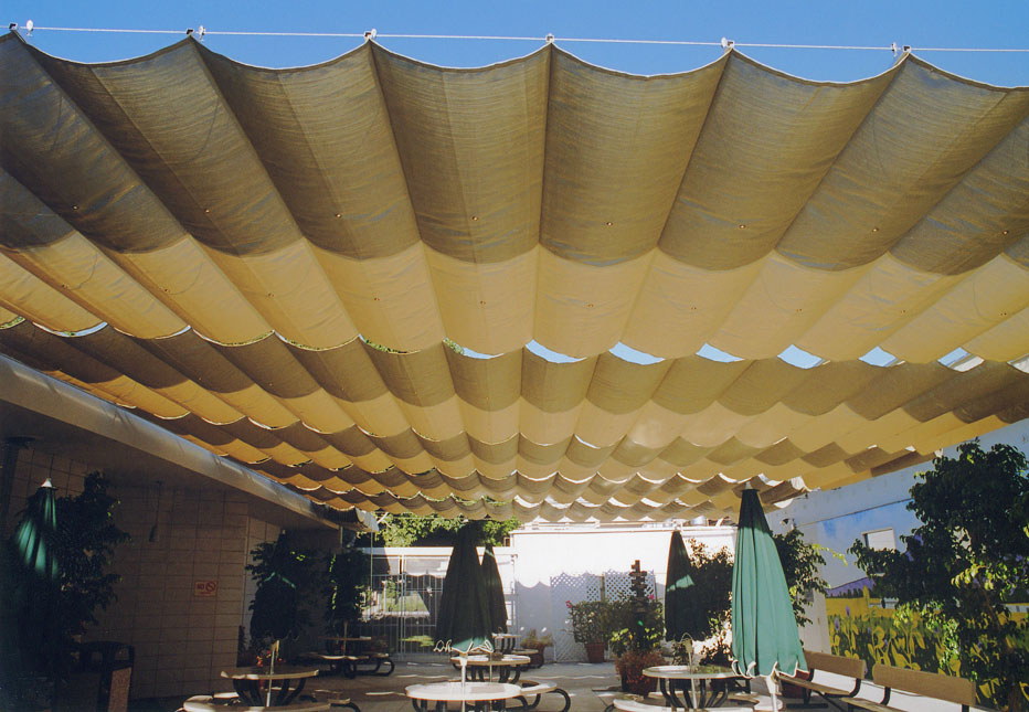 Slide On Wire Architectural Fabric Shade Structures By